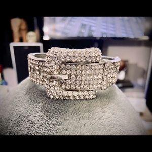Diamond buckle bracelet cuff